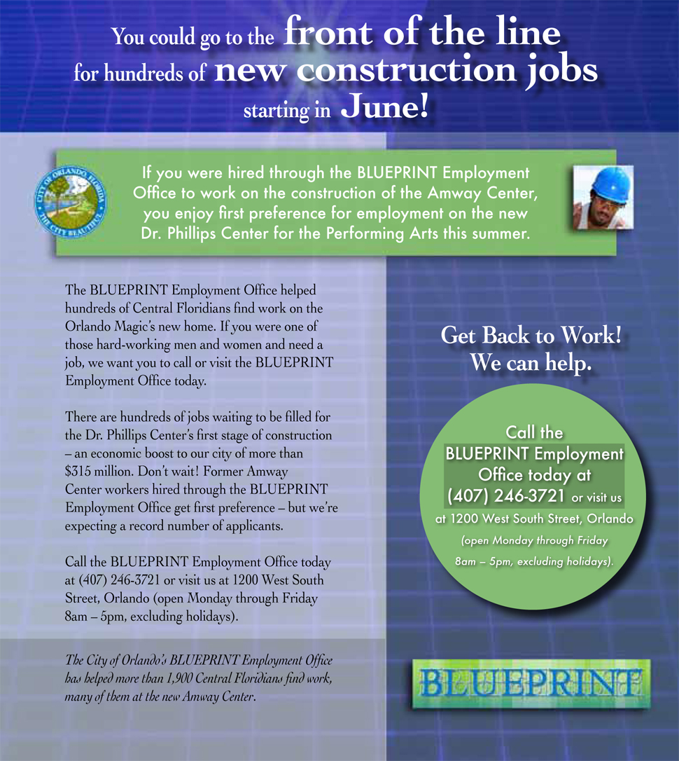 City of orlando blueprint employment office won city of orlando blueprint employment office malvernweather Choice Image