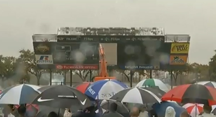 Florida Citrus Bowl toppled kicking off the start of reconstruction, January 29, 2014. (Video still - Local 6)