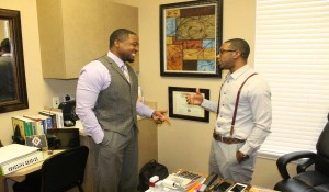 Kappa Accountants.  Akil Yisrael and Allen Knox are co-workers and frat brothers. (Karsceal Turner -WONO).