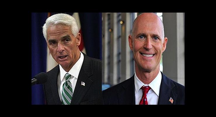 Former Gov. Charlie Crist (l) and Gov. Rick Scott (r)