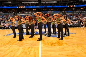 The Orlando Magic Dancers perform a military-themed routine on Nov. 7 as part of the Magic's Seats for Soldiers Night presented by Harris Corporation. Photo taken by Gary Bassing.