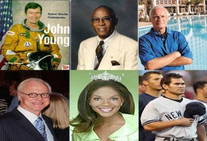 "Top row: l-r: John Young, James ""Chief"" Wilson and Harris Rosen Bottom row: l-r: Dick Batchelor, Ericka Dunlap and Johnny Damon"