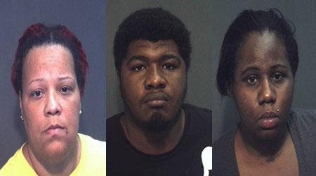 l-r: Bridgett Bennifield, Xavier Stephens & Chrystie Hall - suspects