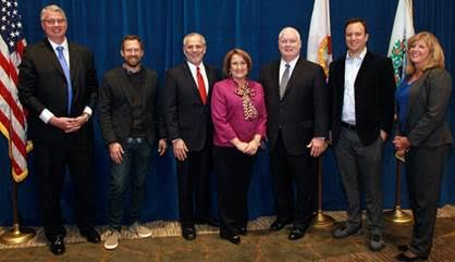 [L-R] Sean Snaith, Ph.D., director of the University of Central Florida's Institute for Economic Competitiveness; Josh Brown, founder and CEO of PowerDMS; Rick Weddle, president and CEO of Orlando Economic Development Commission; Mayor Teresa Jacobs; Jerry Ross, Executive Director of the National Entrepreneur Center; Phil Dumas, founder Unikey Technologies and Donna Mackenzie, executive director of FireSpring Fund at the 2016 Economic Summit.