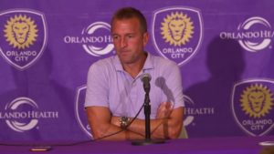 Orlando City coach Jason Kreis speaks to media after the team's latest loss, which eliminated OC from the MLS playoffs again.
